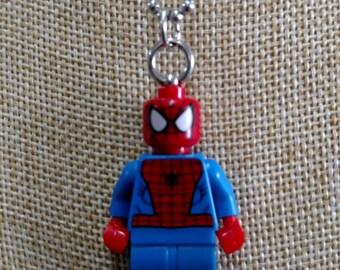 Spider Man Necklace - (LEGO® Minifigure) - Spidey, Peter Parker, Spiderman
