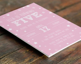 Pink Stars 5th Birthday Customised Invitation A6 (Digital File - Printable PDF)