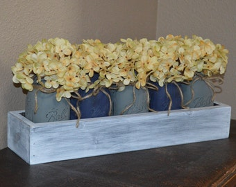 Mason Jar Planter Box, Mason Jar Centerpiece Box, Mason Jar box, Distressed Mason Jar Centerpiece Box