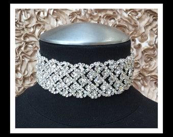 Silver Diamond Rhinestone Choker #C105