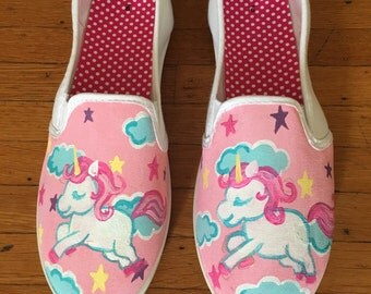 Unicorn shoes - handpainted shoes - kids shoes - adult shoes