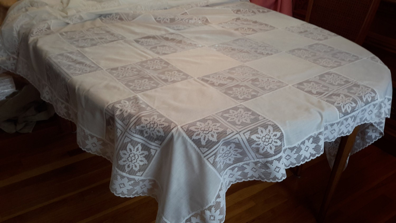 Vintage rectangular white lace cotton tablecloth wedding party for White cotton table cloth