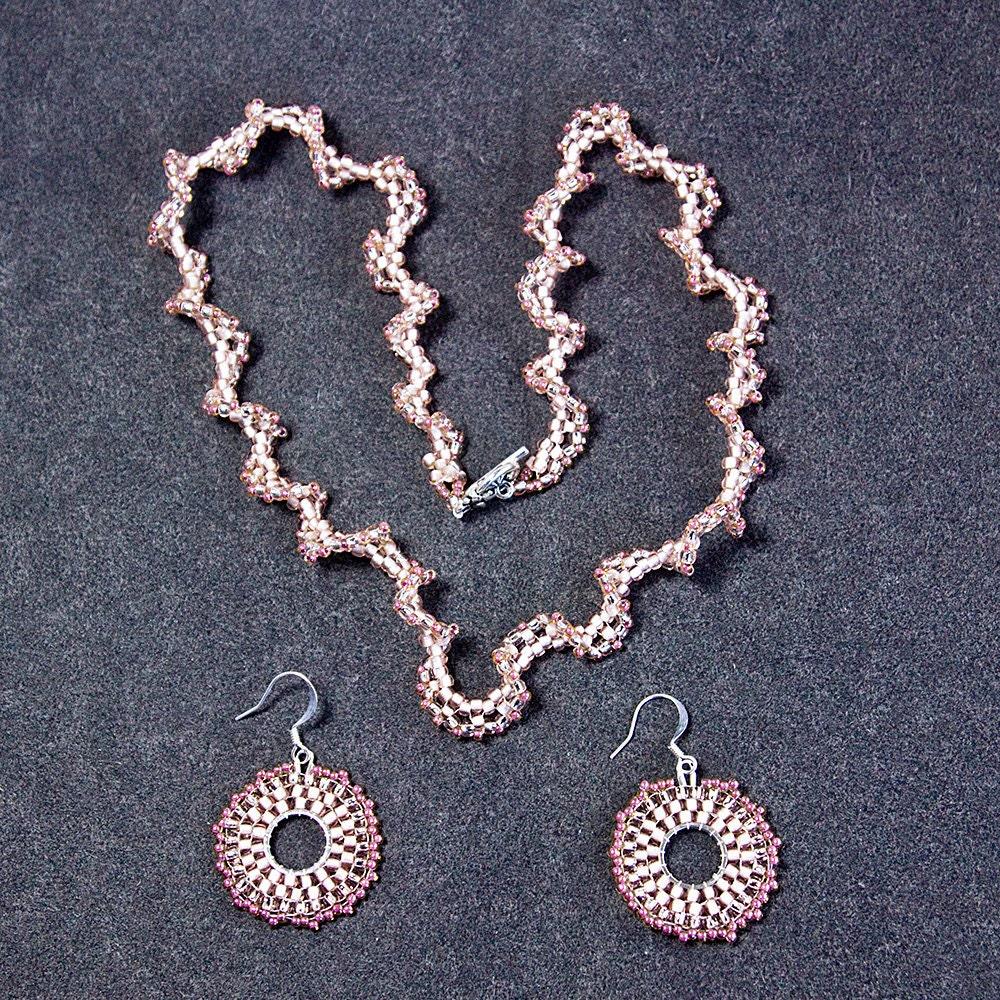 VERKAUF Halskette und Ohrringe Set Peyote Halskette Runde