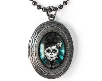 Gunmetal Black Day of the Dead Sugar Skull Lady Keepsake Locket Necklace 363-GMLN