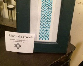 Rhapsodic Threads Brand: framed chevron paper embroidery wall art