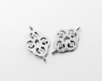 P0406/Anti-tarnished Rhodium Plating Over Brass/Cubic Zirconia Rhombus Connector/15x7mm/2pcs