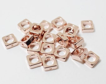P0472/anti-Tarnished Rose Gold Plating Over Brass/Square Charm Connector/6mm/4pcs