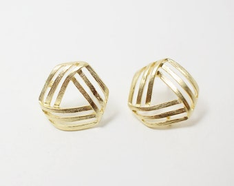 E0036/Anti-tarnished Matte Gold Plating Over Brass/Hexagonal Ribbon Earrings /16x15 mm/2pcs