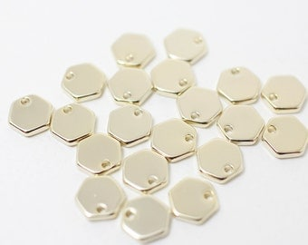 P0339/Anti-Tarnished Gold Plating Over Brass/Small Hexagon Pendant/8mm/4pcs