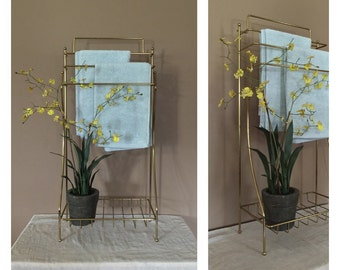 Vintage Gold Towel Bar / Vintage Bathroom Towel Storage / Vintage Towel Stand / Bathroom Storage / Vintage Blanket Stand / Towel Rack