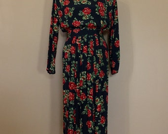 Vintage Floral Dress / Two Piece Shirt and Skirt Set / 90s Dress / 90s clothing / 1990s Dress