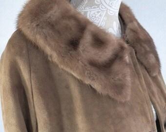 Vtg Women's L 12 Brown Suede Mink Collar Mod Spy Coat Trench