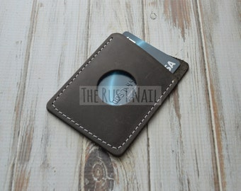 FREE SHIPPING - Genuine Leather Slim Credit Card Holder - Dark Brown