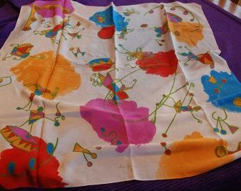 1991 Vintage Ginnie Johansen Scarf 100% Silk - Circus