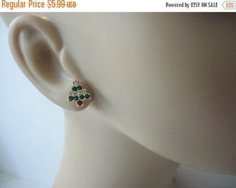 ON SALE Vintage Dainty Rhinestones Christmas Tree Stud Earrings 9216