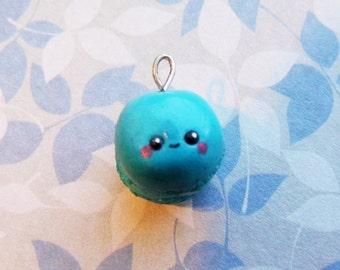 Kawaii Macaroon Charm, Mini Cute Macaroon Charm, Blue Macaroon Charm