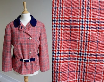 1970s Plaid Belted Jacket with Blue Collar * Size Medium