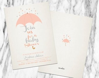 Printable-Invitation-Baby Shower-Parents to be-Mom to be- Custom-Couples-Grey-Girl-Boy-Blue-Gray-Coral-vintage feel-Umbrella-Raindrops-