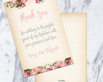 Printable-Custom-Thank You Card-Baptism-Floral Wreath- Flowers-Christening-Personalize-Gray-Pink-Grey-Vintage feel-Girl-Dedication-