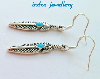 silver and turquoise feather earrings, dangle earrings, boho earrings, bohemian jewelry, turquoise feather earrings