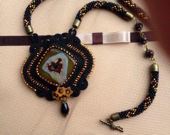 Soutache pendant( beaded necklace, crochet lariat)