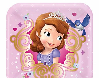 Sofia the First Dessert Pink Square Paper Plates 8ct