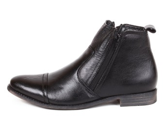 Mens Jacksin Hand Crafted Leather Chelsea Zip Up Boots