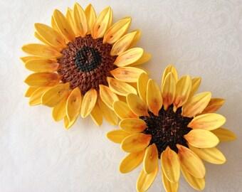 2 Sunflower Fondant Flowers Gumpaste Flowers Gumpaste Sunflower Fondant Sunflower Edible Flowers Wedding Cake Topper Cake Decorations