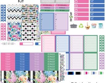 Retro Flower Vertical Kit (planner stickers)
