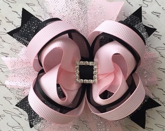 Ballerina hair bow-black and light pink ballerina hair bow-pink and black hair bow-over the top ballerina hair bow-large ballerina  pink bow