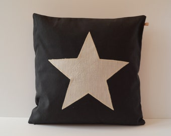 Pillowcase star black, 40 x 40 cm