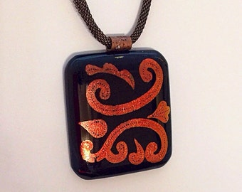 Hand Etched Copper Dichroic Pendant
