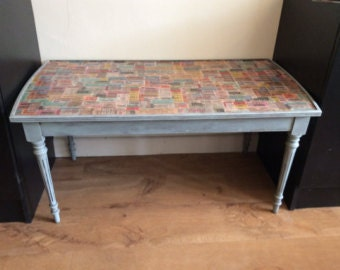 "OCCASIONAL Decoupaged COFFEE TABLE - ""Tickets""  -  Sale Price"