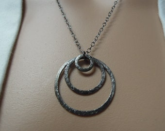 Necklace with 3 Black Oxidized Sterling Silver Rings