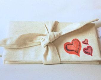 SALE Canvas clutch, Heart Wallet, Valentine Gift, Wallet Clutch, Evening Bag,