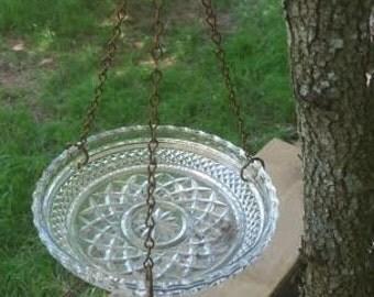 Vintage Glass Bird Feeder - Bird Feeder - Glass Bird Feeder - Hanging Bird Feeder - Birdfeeder - Garden Decor - Vintage Garden Decor