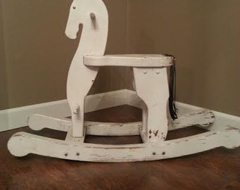 Rocking Horse - Vintage Rocking Horse - Wood Rocking Horse - Photo Prop - Nursery Decor - Childs Rocking Horse - Shabby Chic Rocking Horse