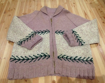 1950s Hand Knit Zip Front Sweater