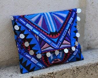 Tribal Clutch/Ipad Pouch - Blue