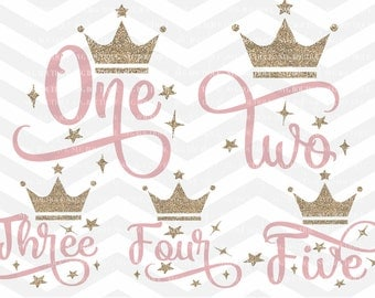 Number Birthday SVG, Birthday SVG, Birthday svg Bundle, Baby Girl, Crown, Cutting File, PNG, dfx, Cricut, Silhouette, Cut Files, Download