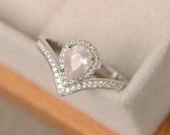 Pink quartz ring, pear cut, pink crystal