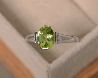 Peridot Ring, August birthstone, silver, finished with rhodium