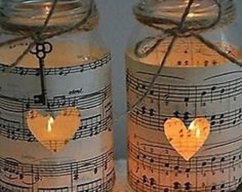 Sheet Music Tea Light Lantern