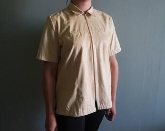 Vintage Zipped Women's Shirt Beige Snake Print Tshirt Oversized Shirt
