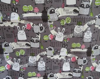 Kei Fabric Japan - Kati Kati Raccoon Bunny - MIYAKO-009 - 100% Cotton Canvas | By the yard