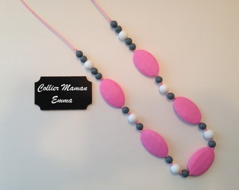 Teething necklace / silicone accessory / shower and birth gift / necklace from MOM / model EMMA
