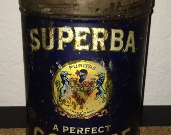 Superba antique coffee can