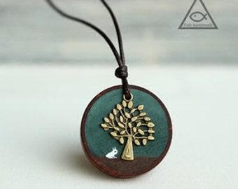 Handmade Red Oak Wood • Wooden Necklace (Oak) • Wooden Pendant