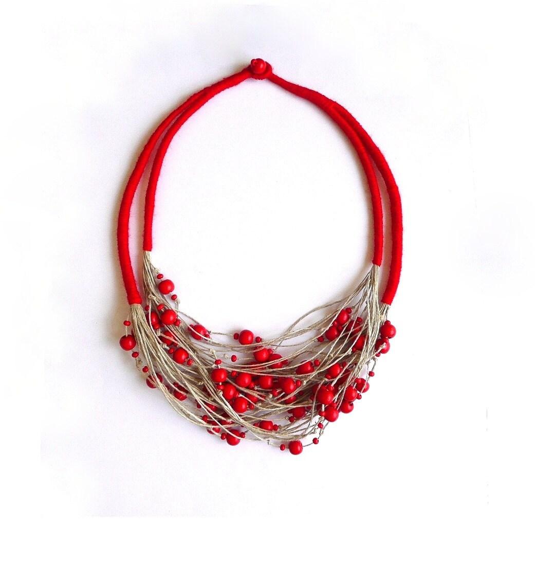 Linen Jewellery: Thread Necklace Linen Jewelry Natural Linen Multi Strand