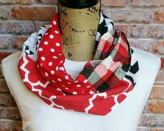 Red and Black Scarf - Game Day Outfit - Lightweight Infinity Scarf - Spirit Scarf - Spirit Wear - Team Spirit Scarf - Plaid Scarf for Her